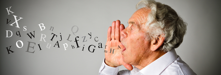 A man screams and letters come out of his mouth (to illustrate speech therapy)